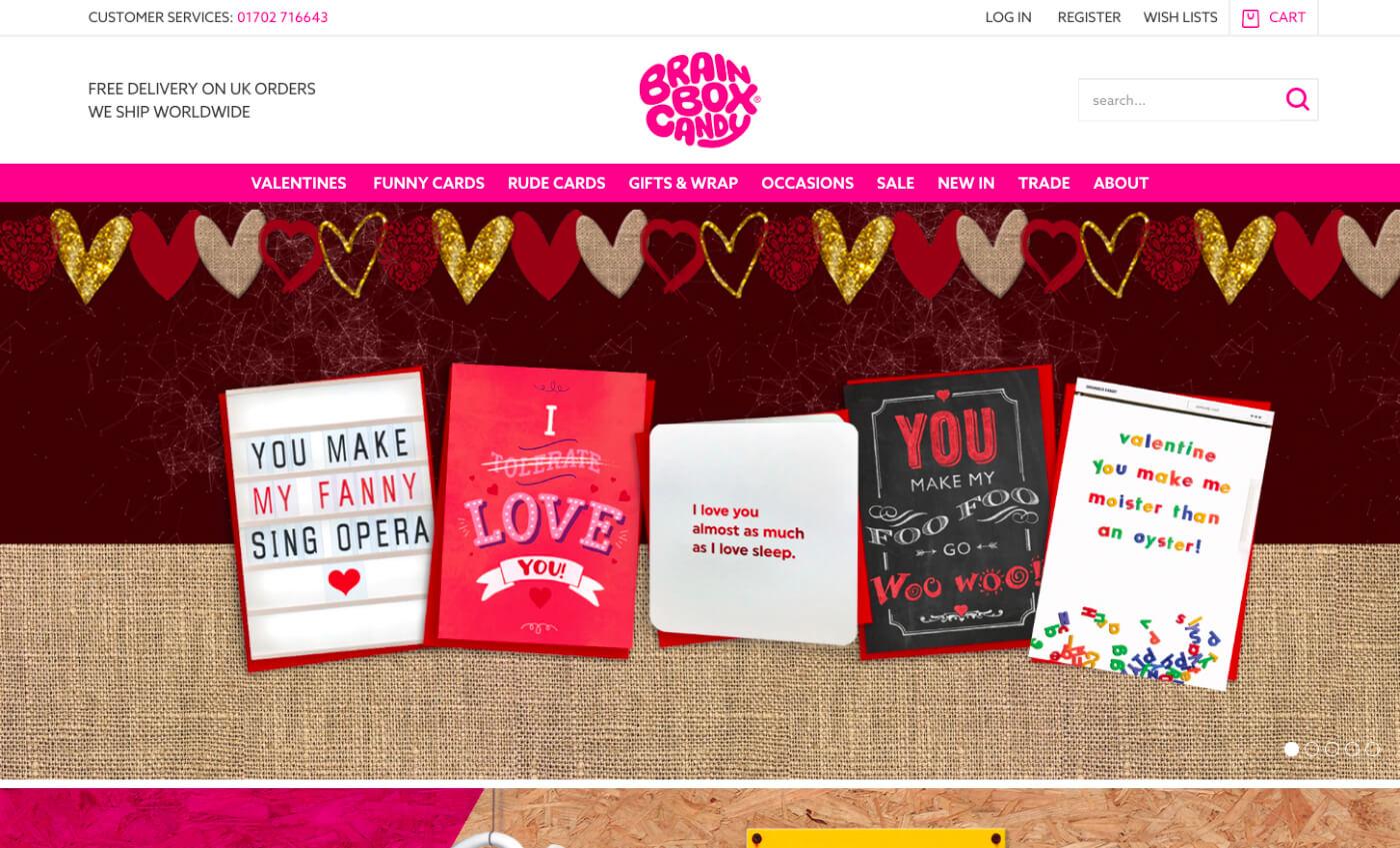 Desktop view of the Brainbox Candy website