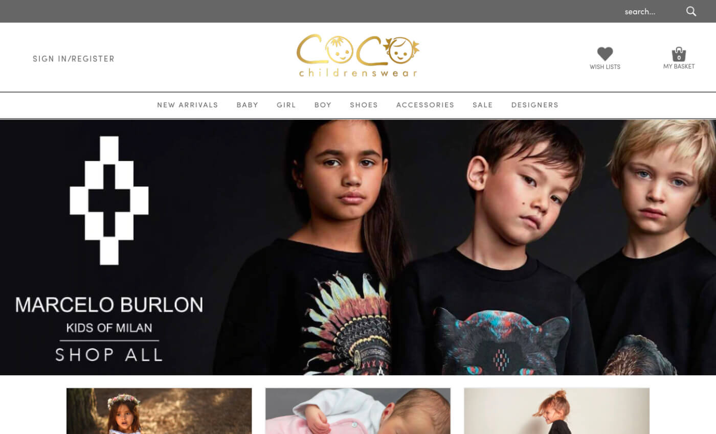 Desktop view of the Coco Childrenswear website.
