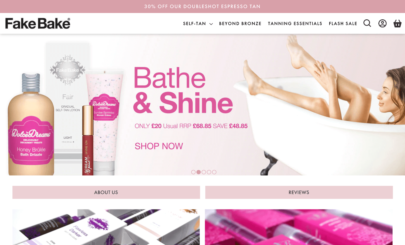 desktop screenshot of Fake Bake website