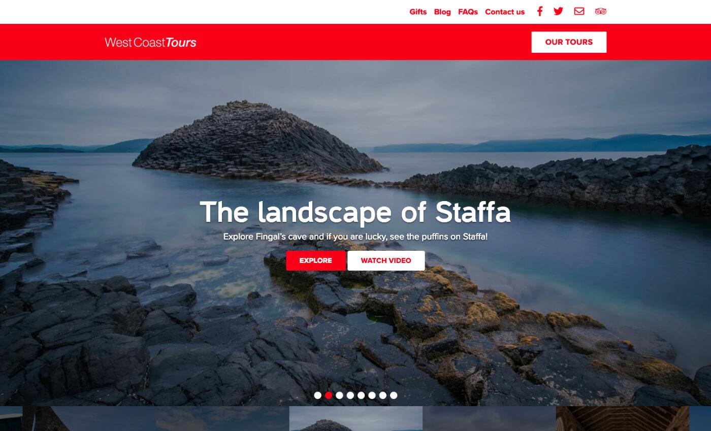 Desktop view of the West Coast Tours website
