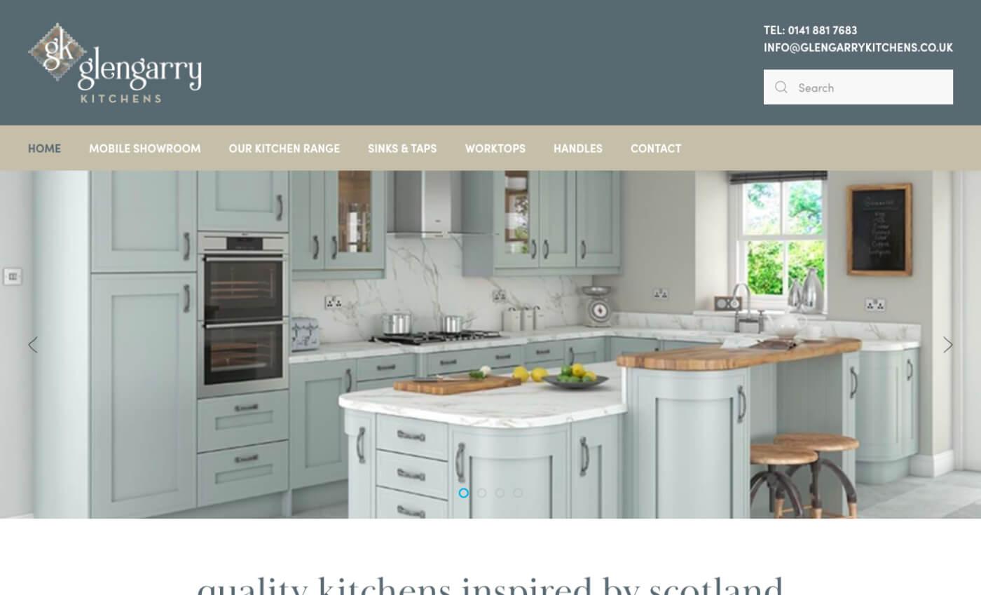 Desktop view of the Glengarry Kitchens website.