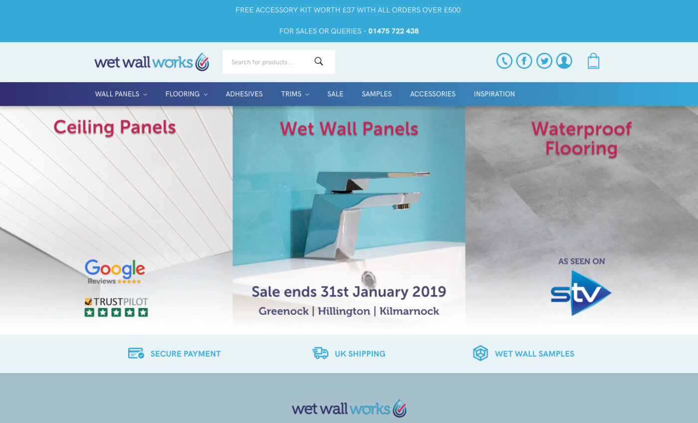 Desktop view of the Wet Wall Works website