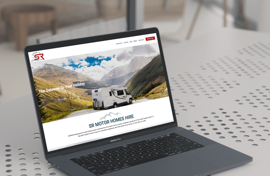 image of the SR Motorhome Hire Website on a MacBook Pro
