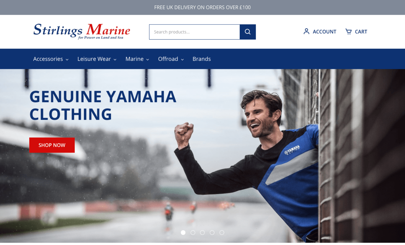 Screenshot of the Stirlings Yamaha website