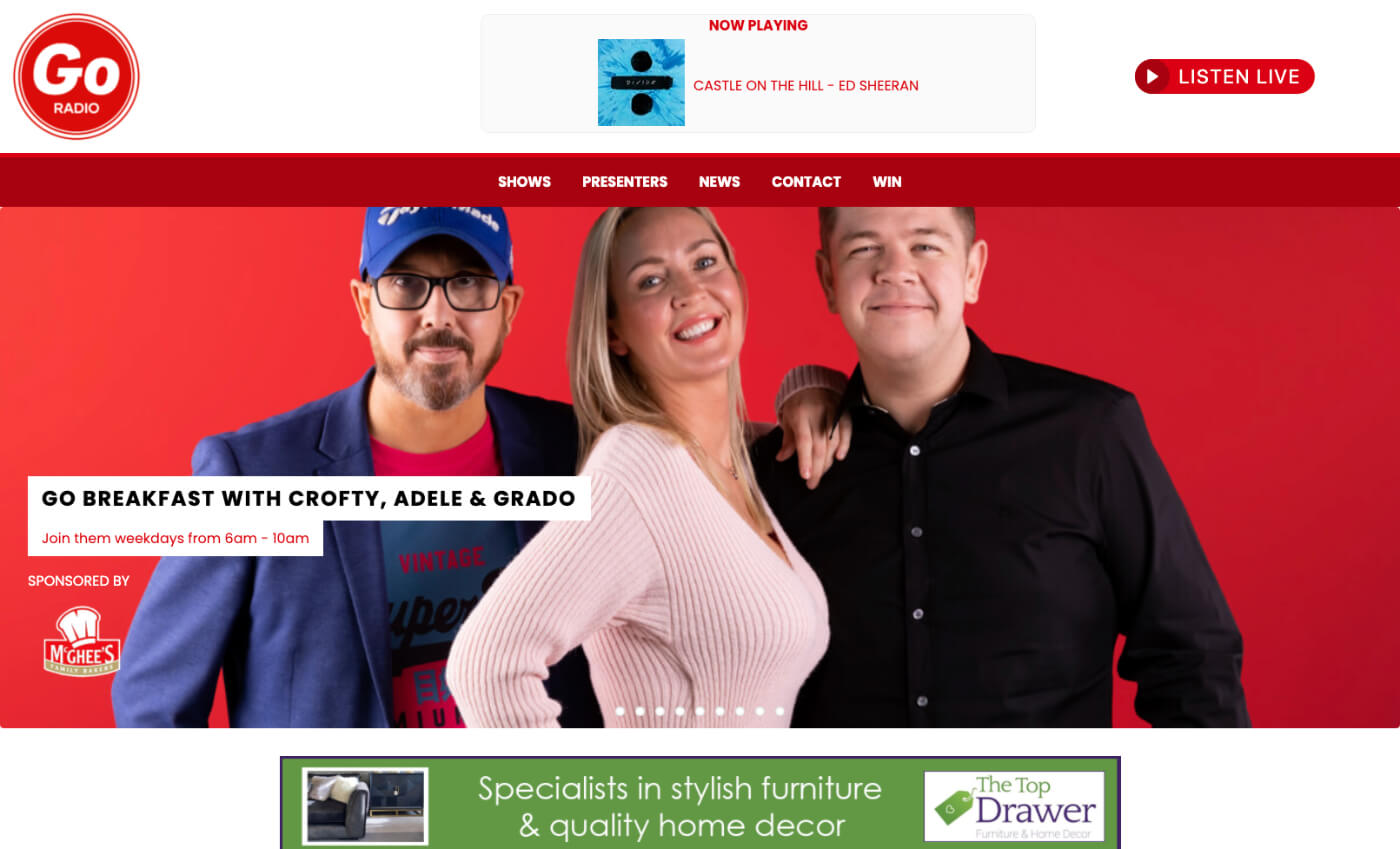 Go Radio website desktop screenshot