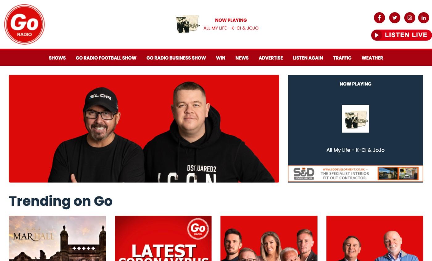 view of the Go Radio website on Desktop